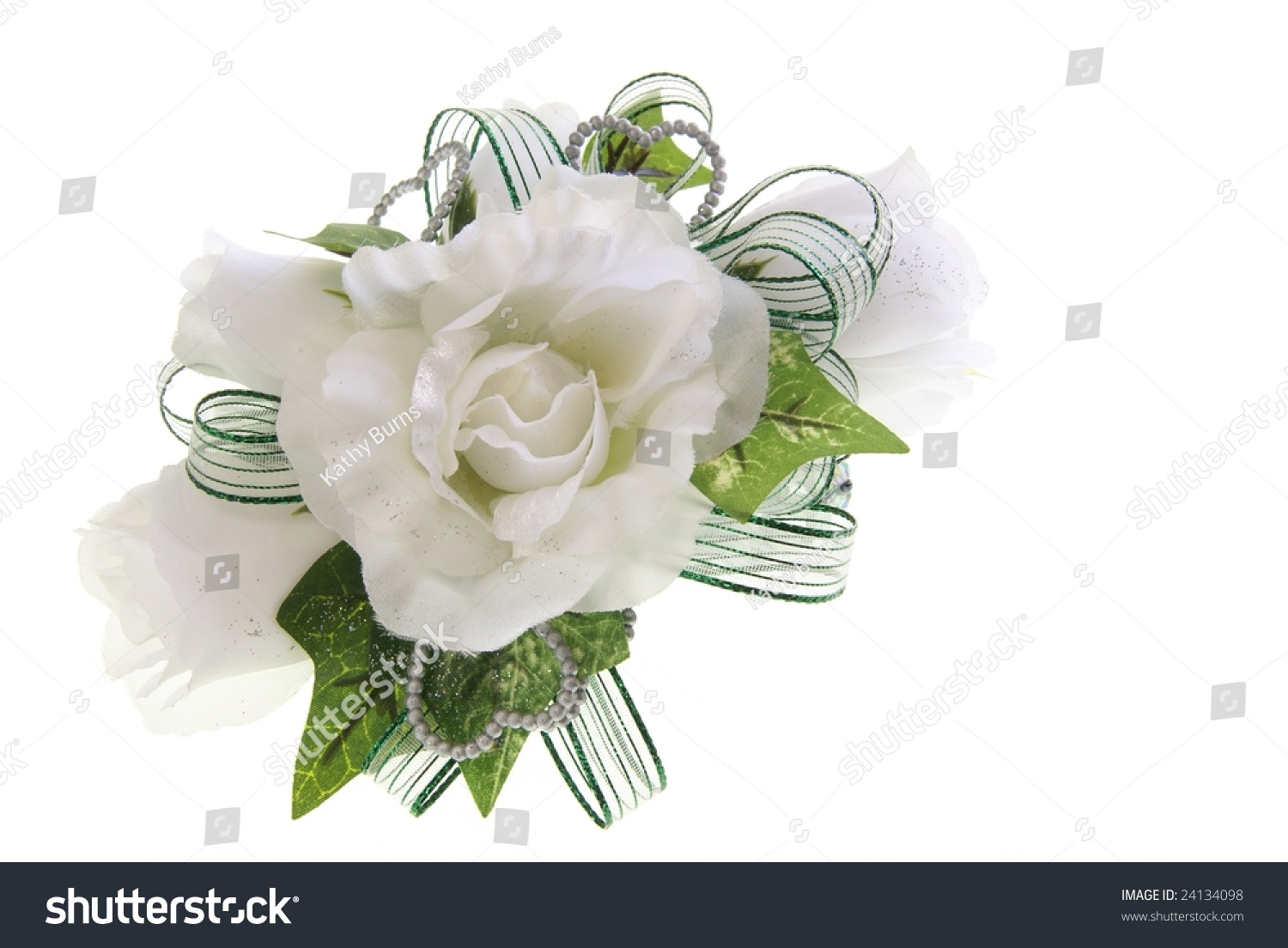 White Fabric Rose Flower Wrist Corsage Stock Photo Download Now
