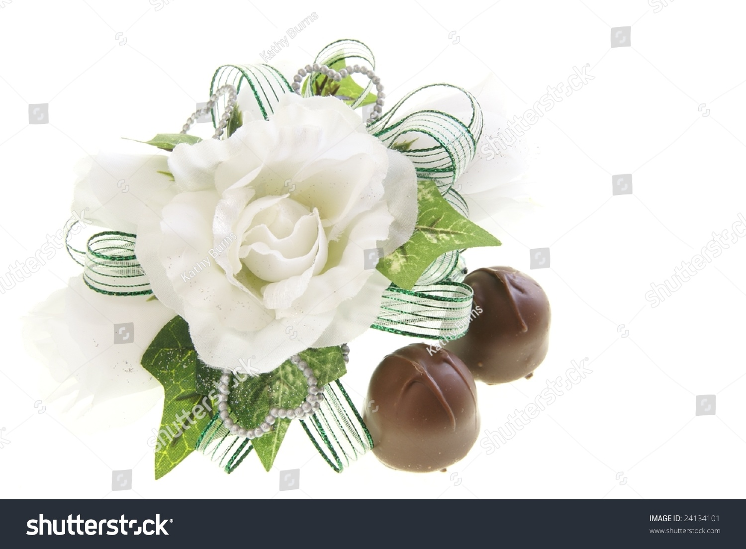 White Fabric Rose Flower Wrist Corsage Stock Photo Royalty Free