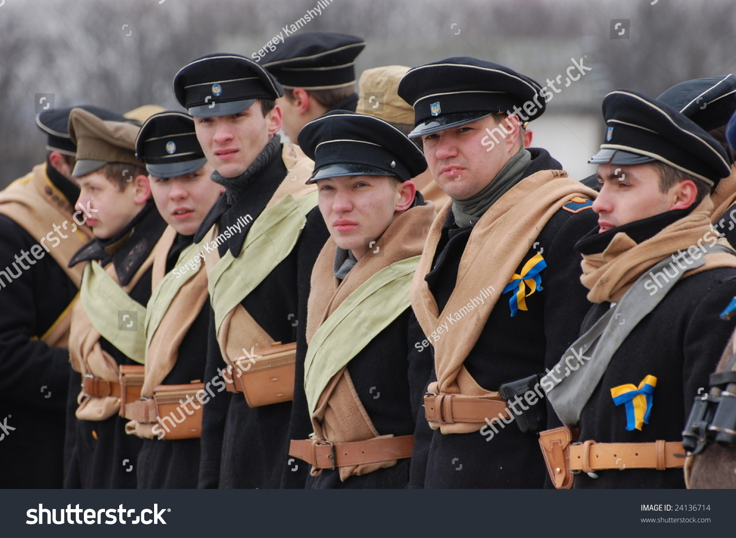 KIEV, UKRAINE - FEB. 2, 2008: Participants in a Russian Historical reenacting group wear 1918 Russian student Civil War uniforms during their  group meeting on February 2, 2008 in Kiev, Ukraine.