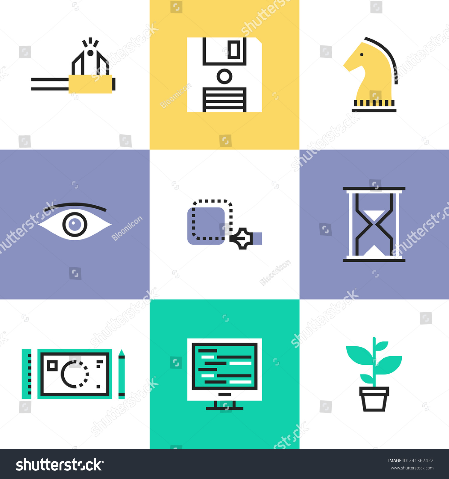 Flat Line Icons Creative Studio Workflow Stock Vector ...