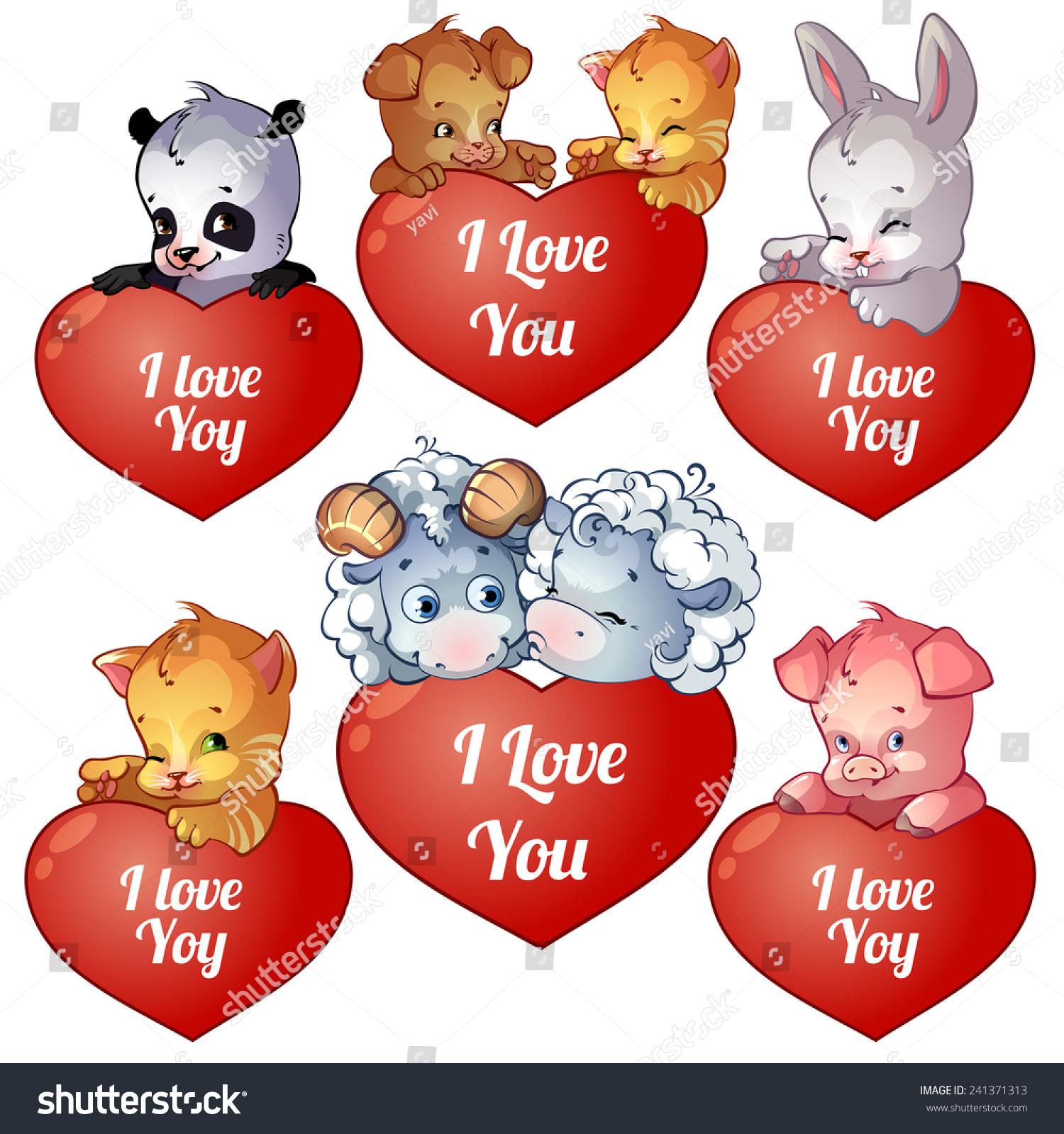 Set Cards Valentines Day Cute Cartoon Vector 241371313 – Pig Valentine Cards
