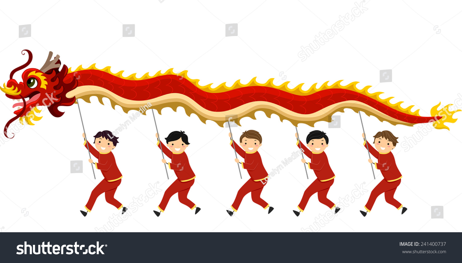 illustration kids performing dragon dance chinese stock vector