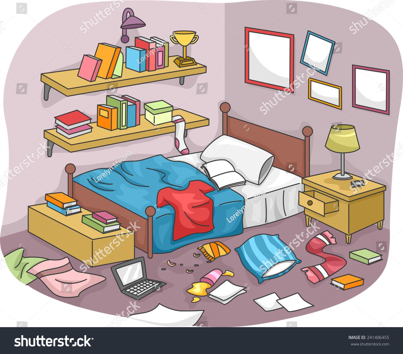 Untidy Bedroom Art: Illustration Disorganized Room Littered Pieces Trash Stock