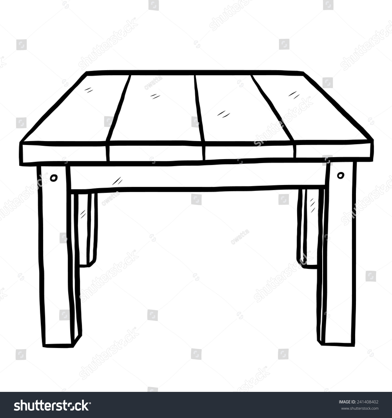 Wooden table cartoon vector illustration black stock