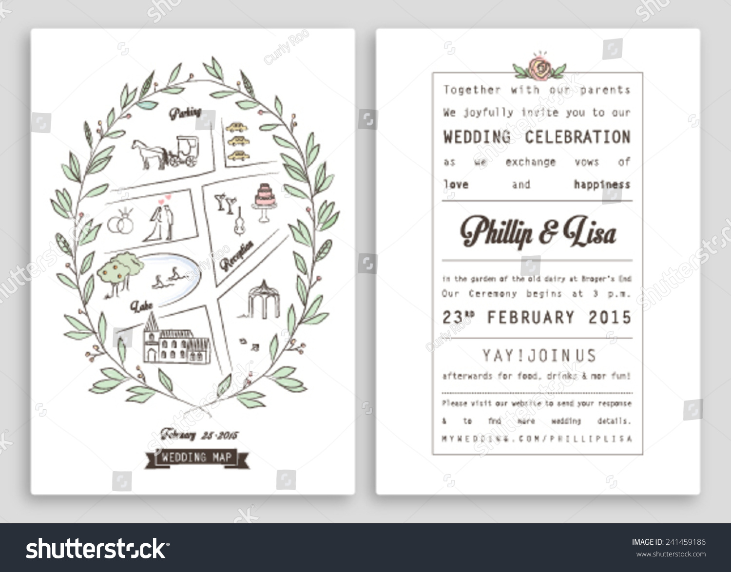 WEDDING INVITATION TEMPLATE WITH MAP ROYAL DESIGN Nice Layout Editable Vector Illustration