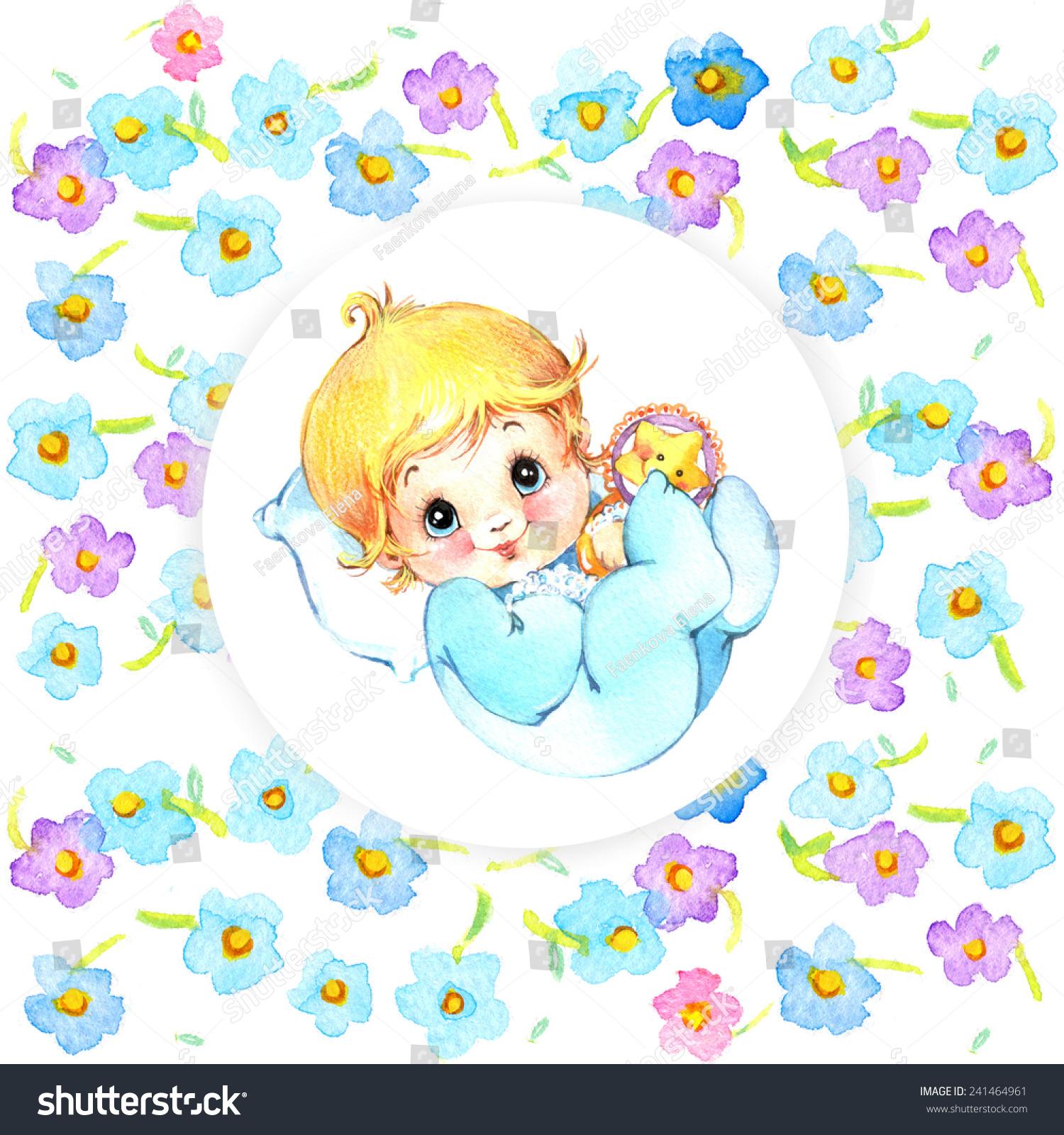 Newborn Baby Boy Background Card Congratulations Stock Illustration