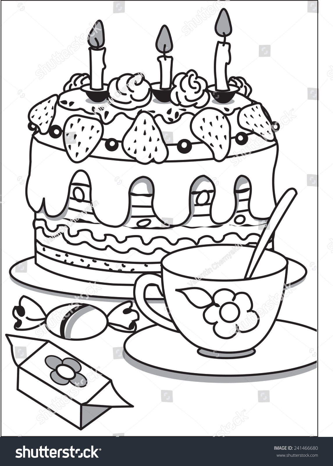 cake tea on table birthday cake stock vector 241466680 shutterstock