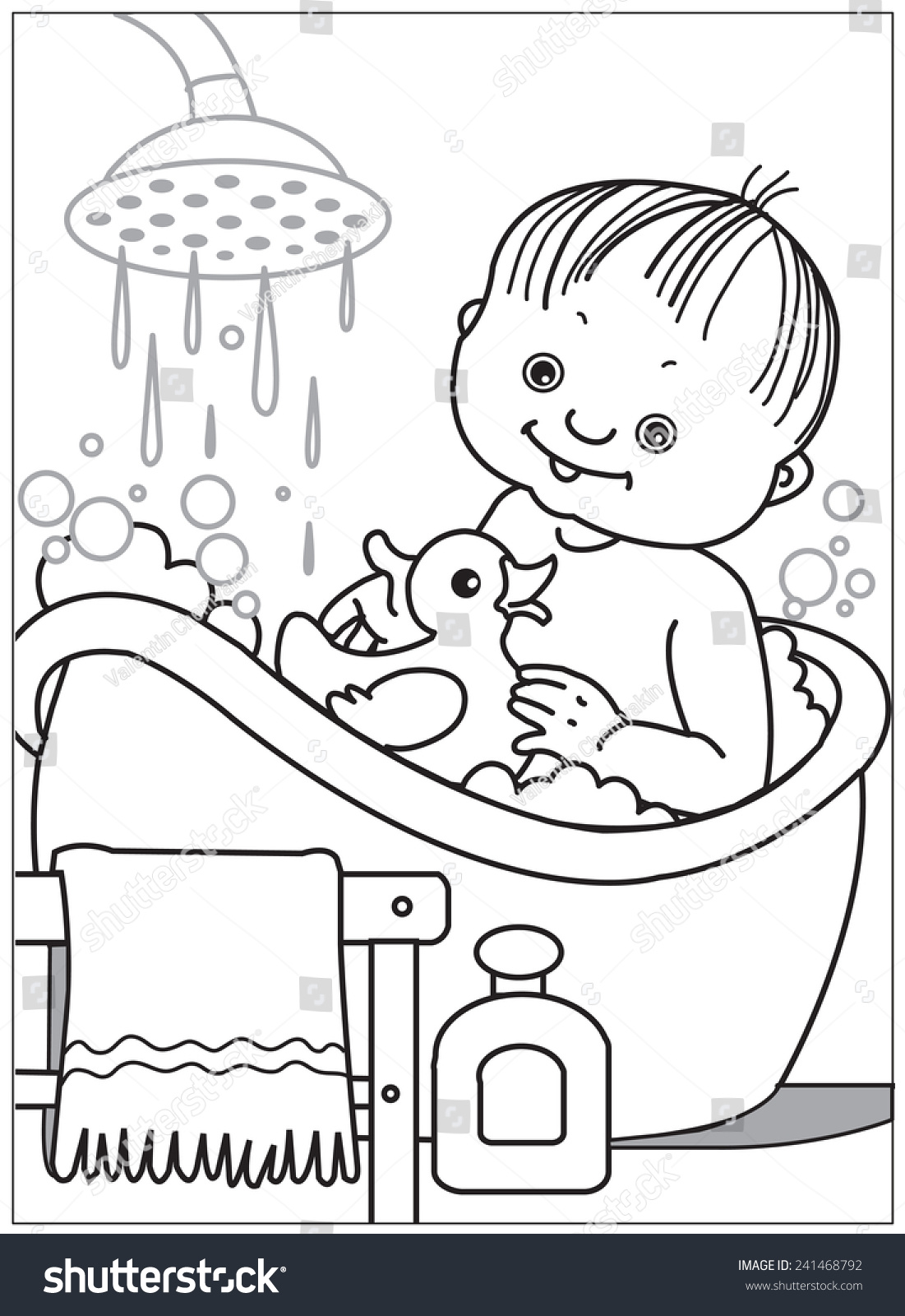 baby bathing small child toy rubber stock vector 241468792