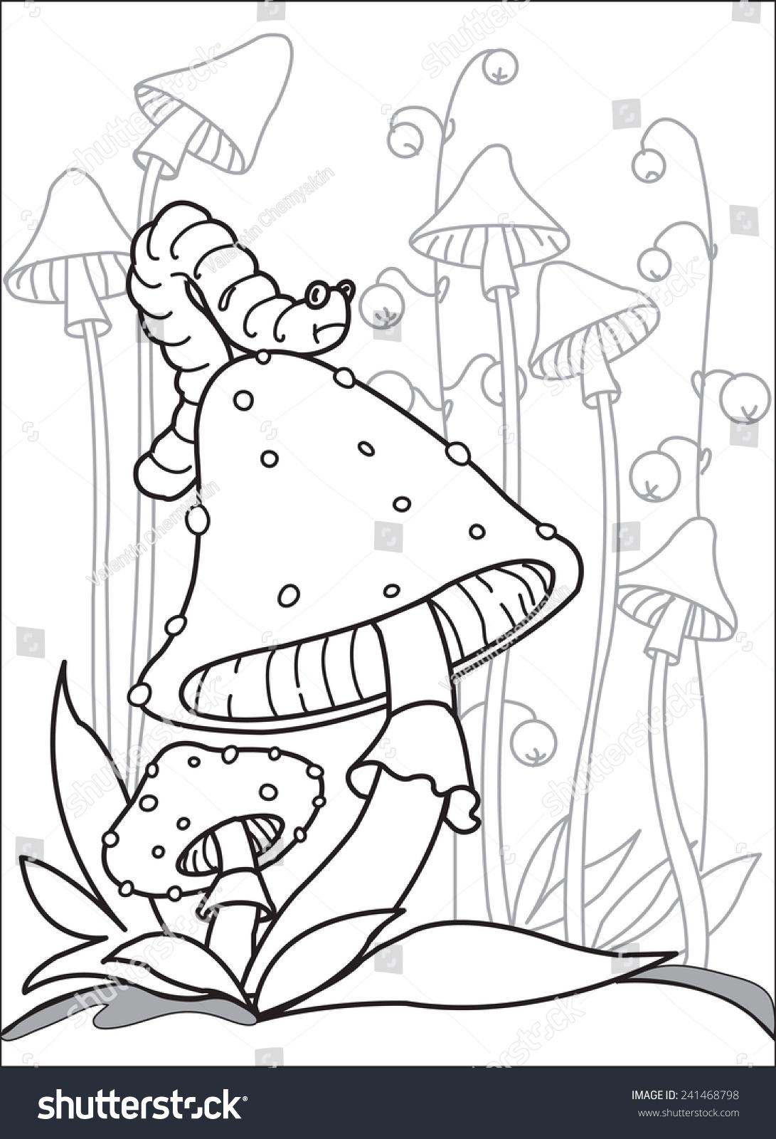 caterpillar on top mushroom big caterpillar stock vector 241468798