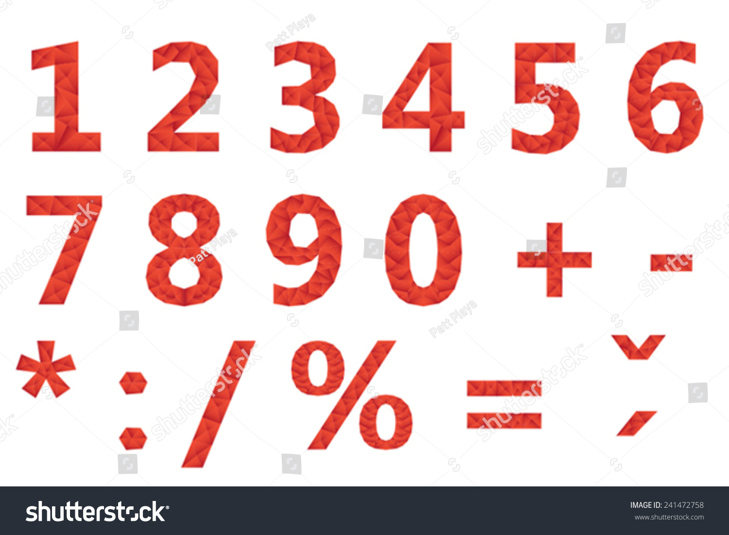 Mathematical Symbols Red Polygonal Numbers Geometric Stock Vector