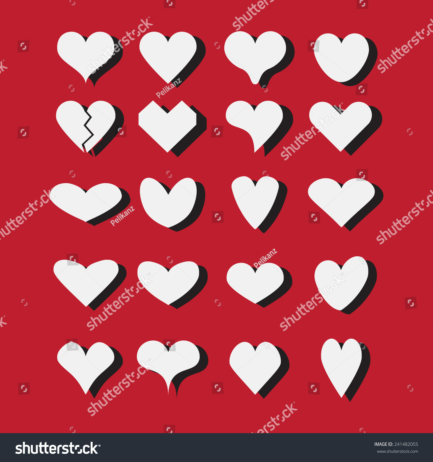 Set Different White Heart Shapes Icons Stock Illustration 241482055