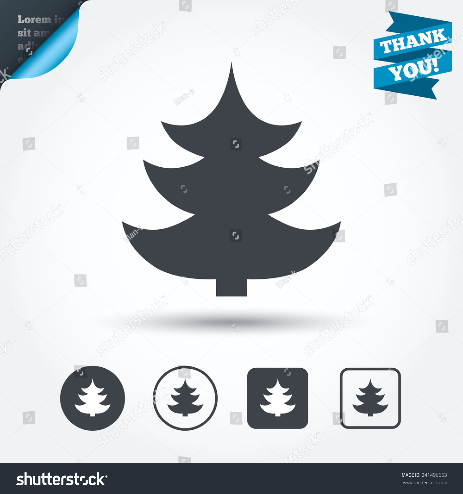 Christmas Tree Sign Icon Holidays Button Stock Vector (Royalty Free ...