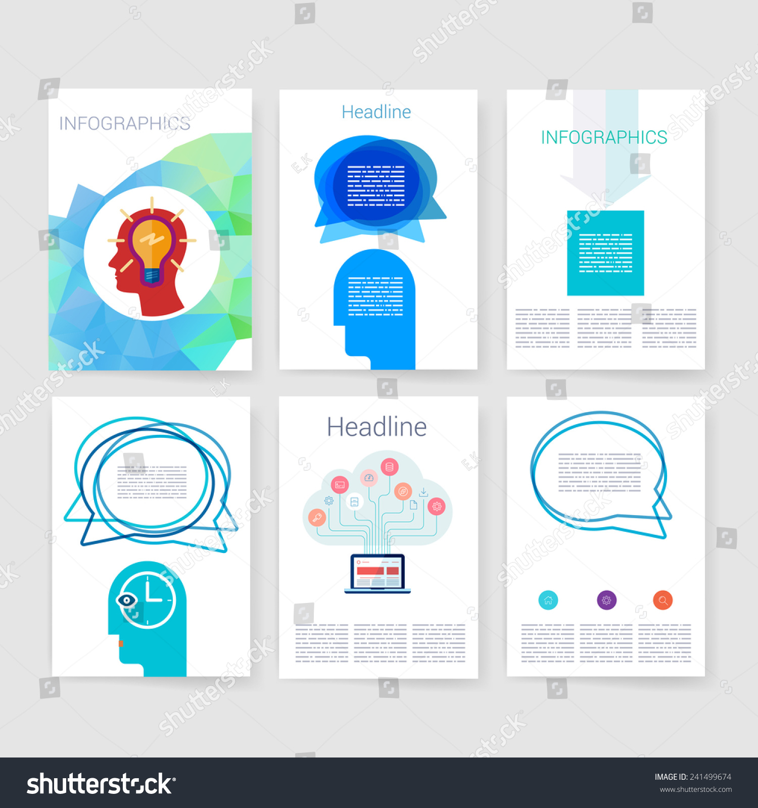 vector brochure design templates collection applications のベクター
