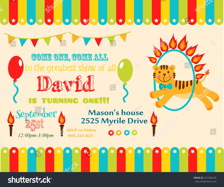 Circus Party Card Design Kids Vector Stock Vector (Royalty Free ...