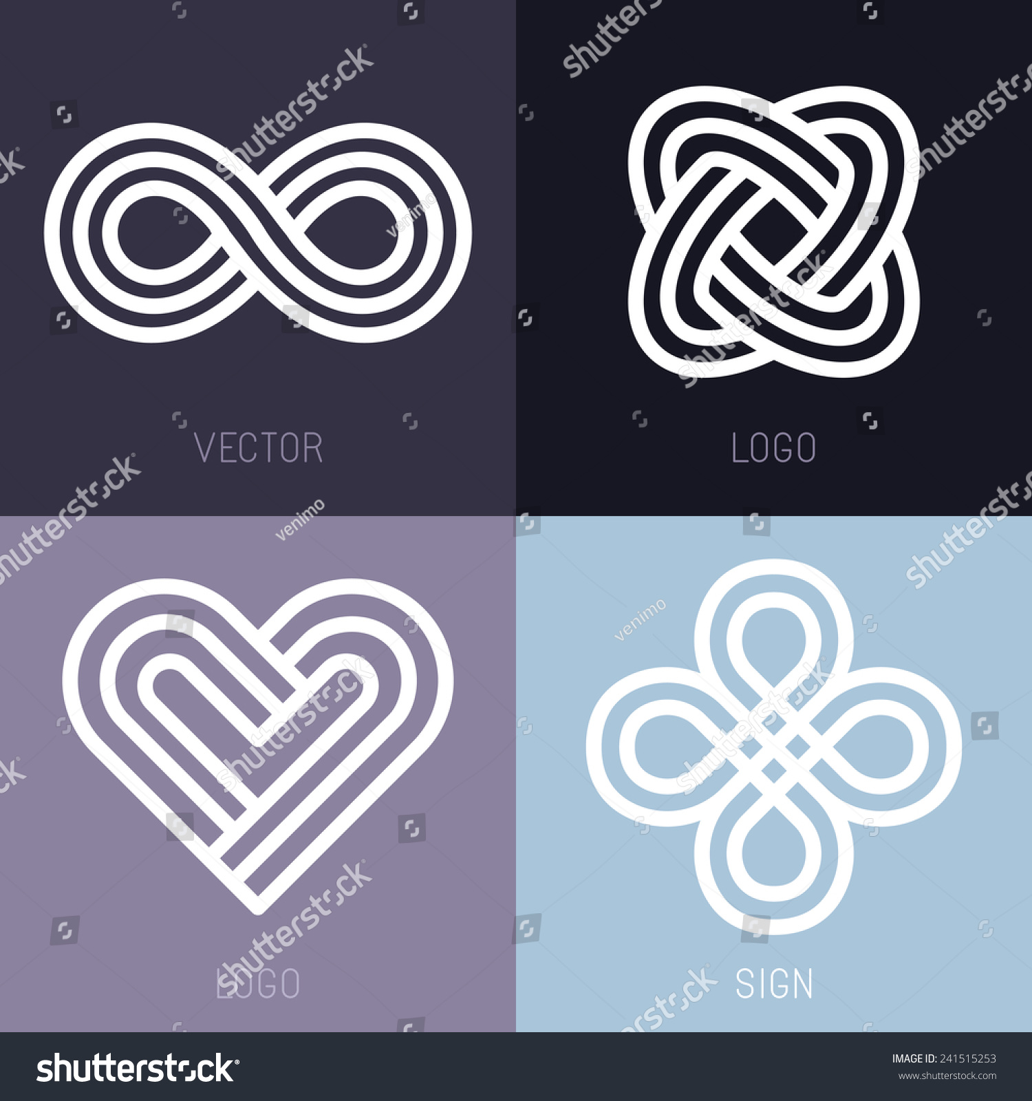 Graphic Design Elements Line : Vector set abstract line logos infinity stock