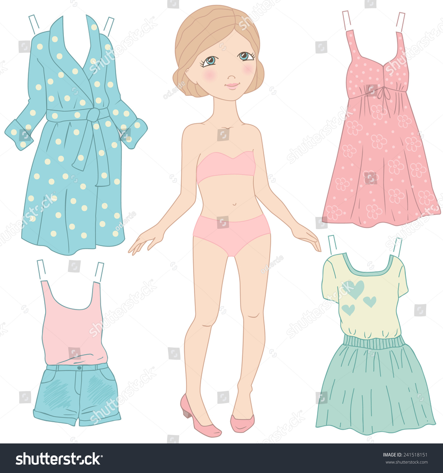 Dress Paper Doll Women Clothing Gamevector Stock Vector Royalty