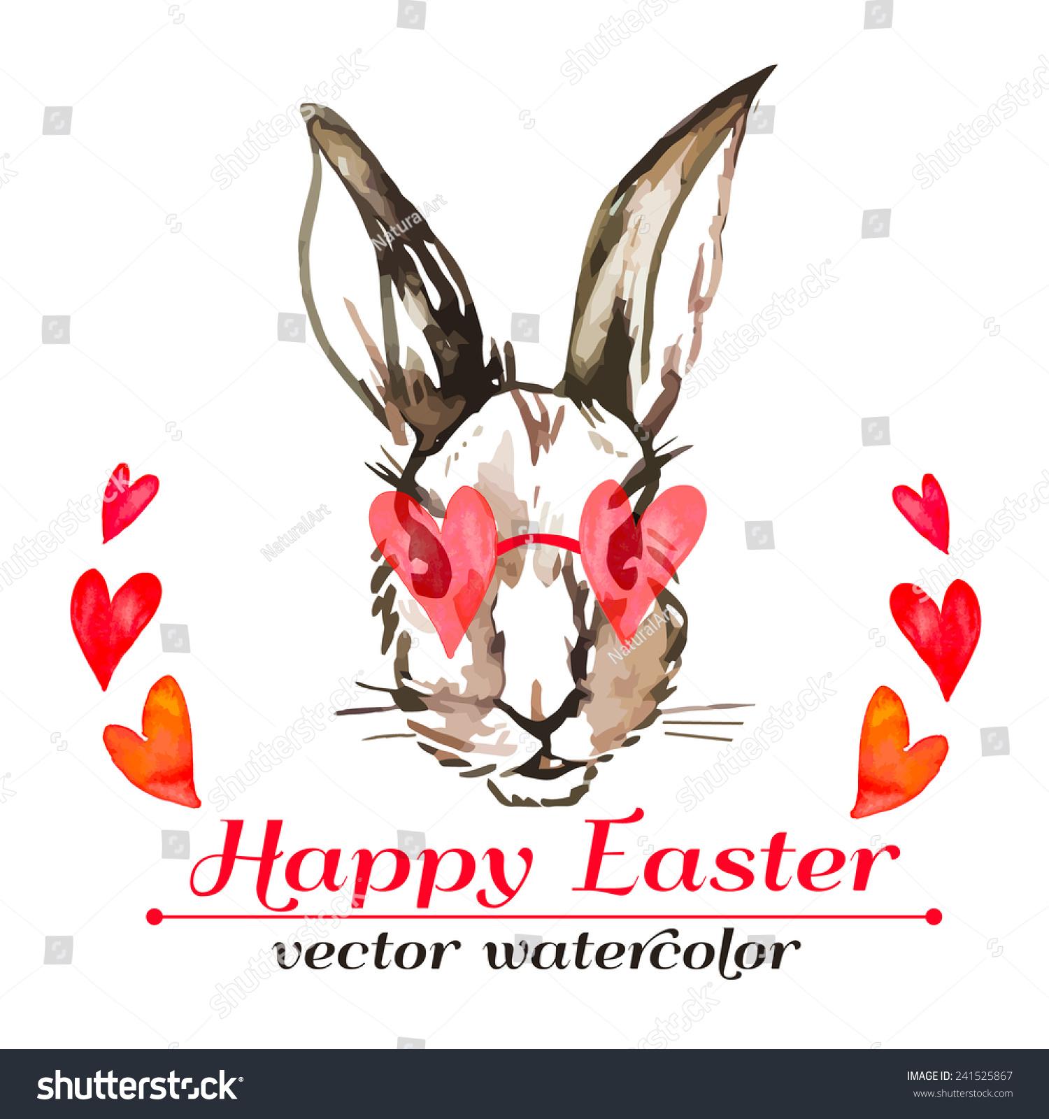 Easter Bunny Hipster Watercolor Vector Happy Stock Vector ...