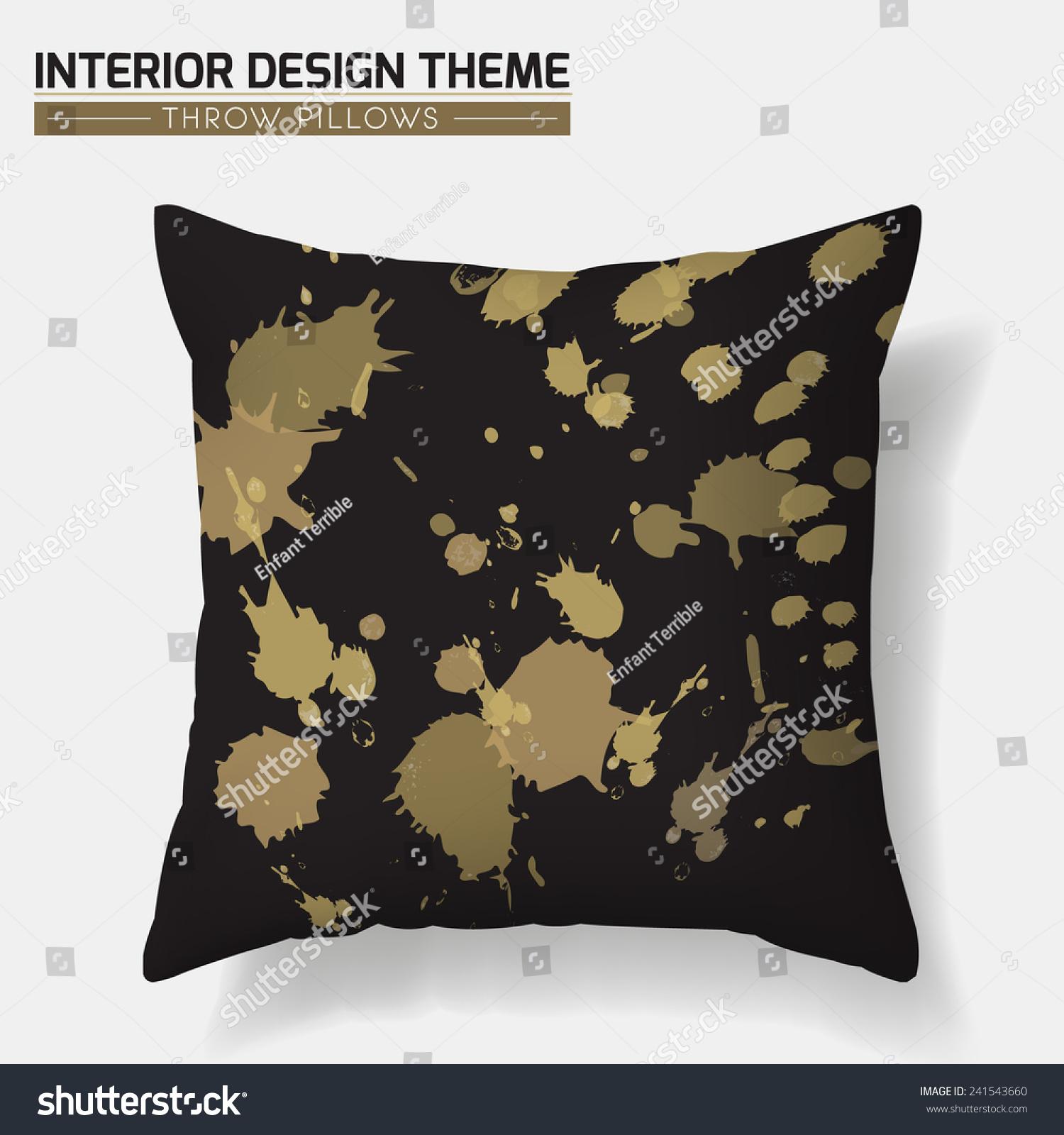 Decorative Golden Splashes Throw Pillow Design Stock Vector