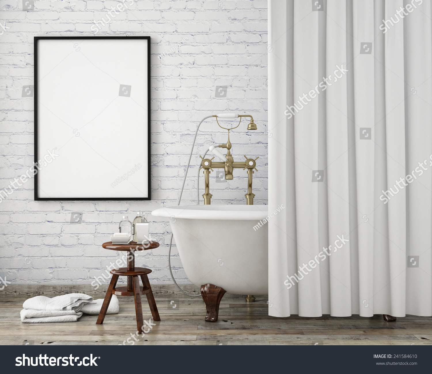 mock up poster frame in vintage hipster bathroom interior background