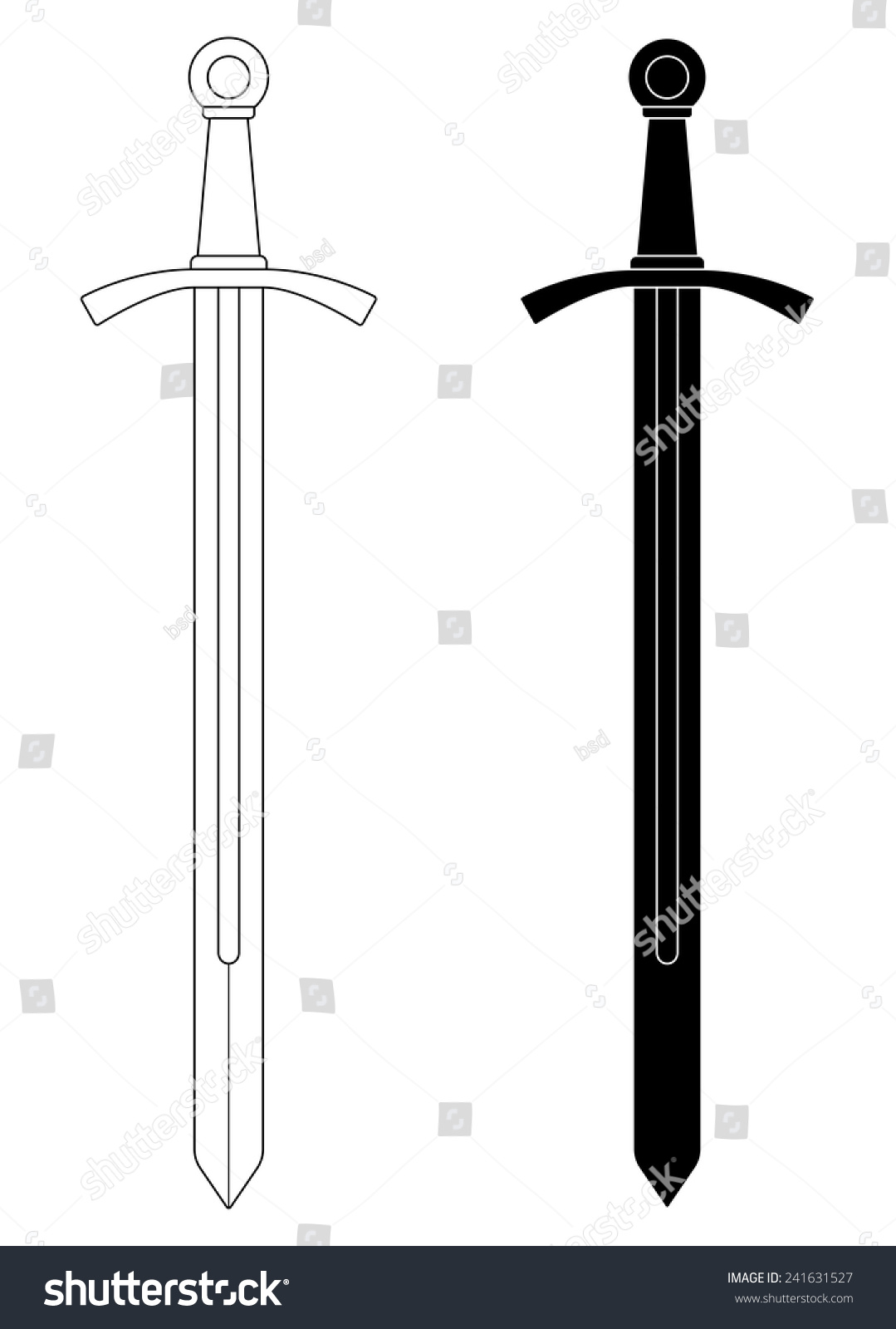 Onehanded Medieval Knight Vector Sword Clip Stock Vector ...