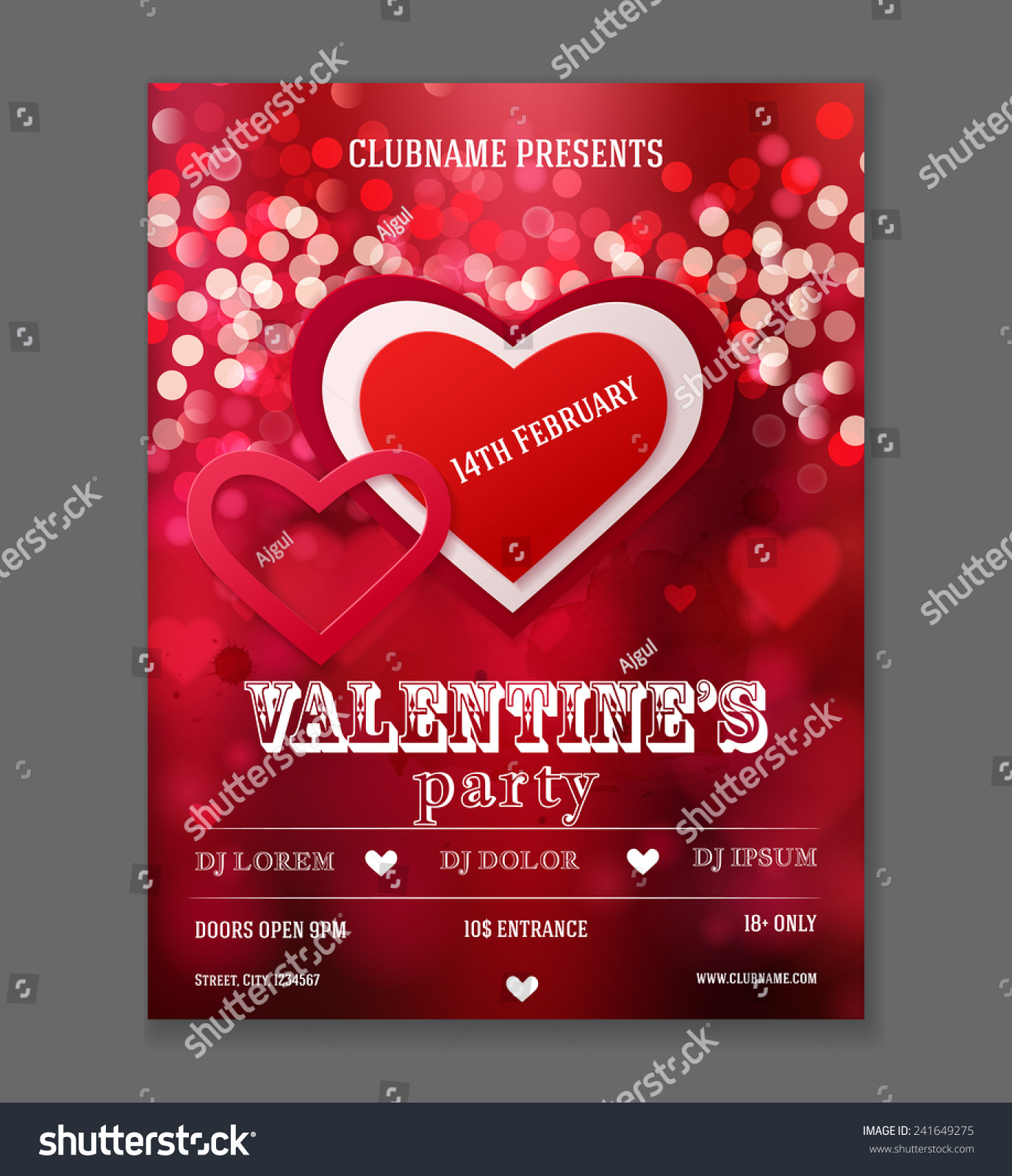 Valentines Day Party Flyer Design Vector Stock Vector