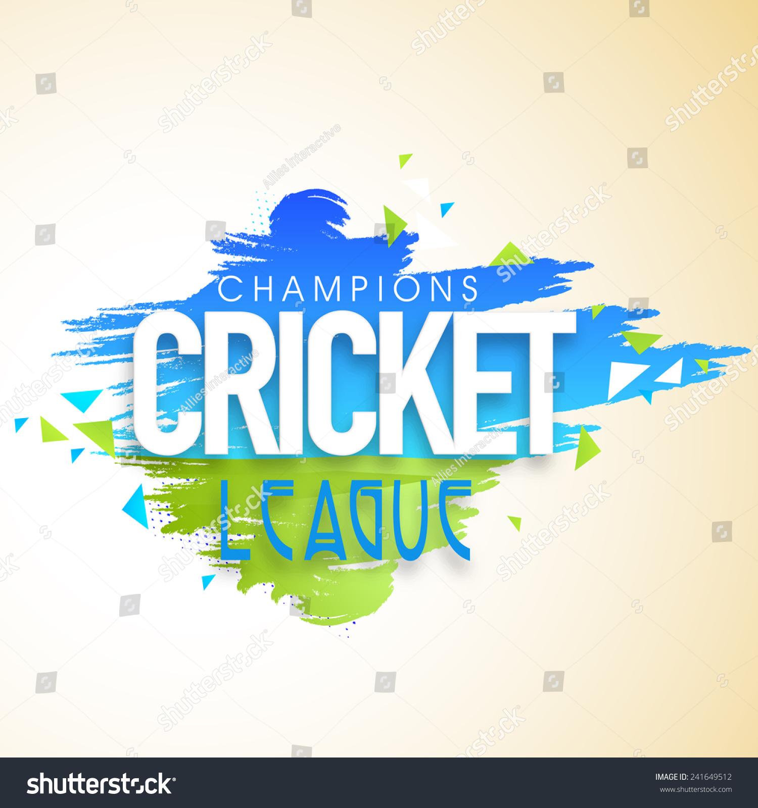 Cricket Champions League Poster Banner Design Stock Vector