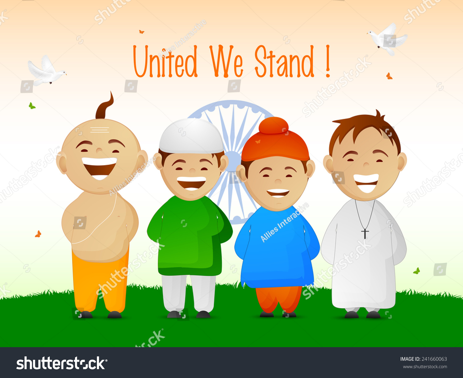 india cute little kids different religion stock vector