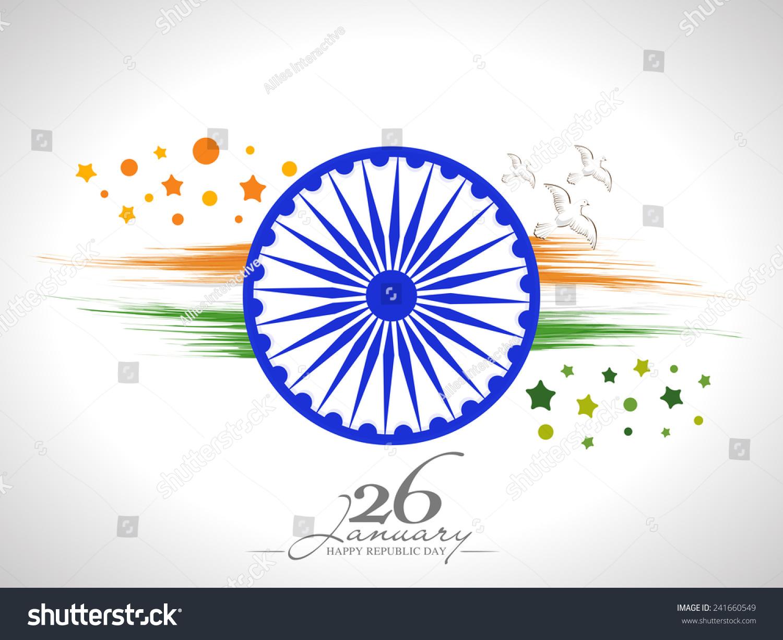 Colors website ashoka - Happy Indian Republic Day Celebration With Ashoka Wheel Flying Pigeons And National Flag Colors Paint