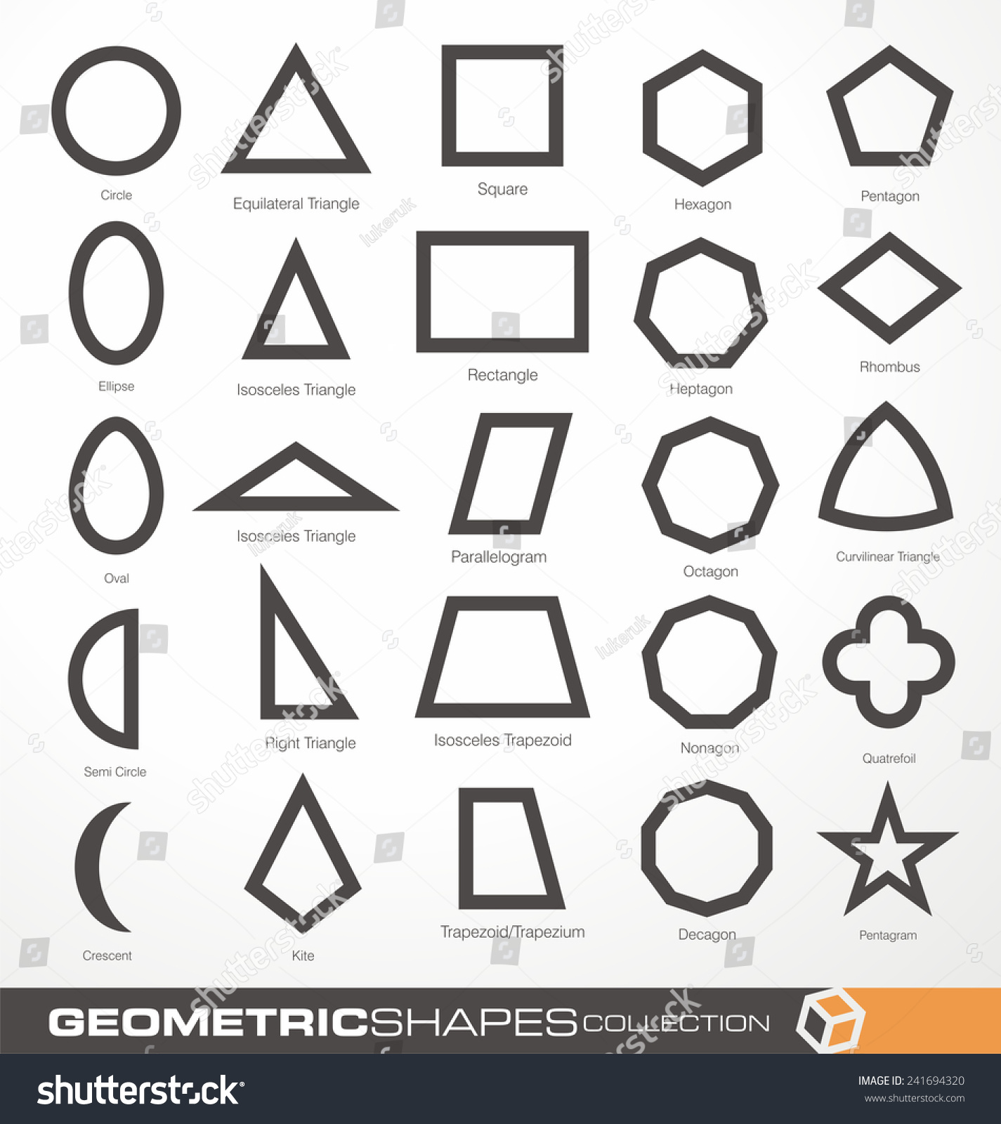 Worksheet Shapes Geometry set geometric shapes education science theme stock vector of and design elements collection