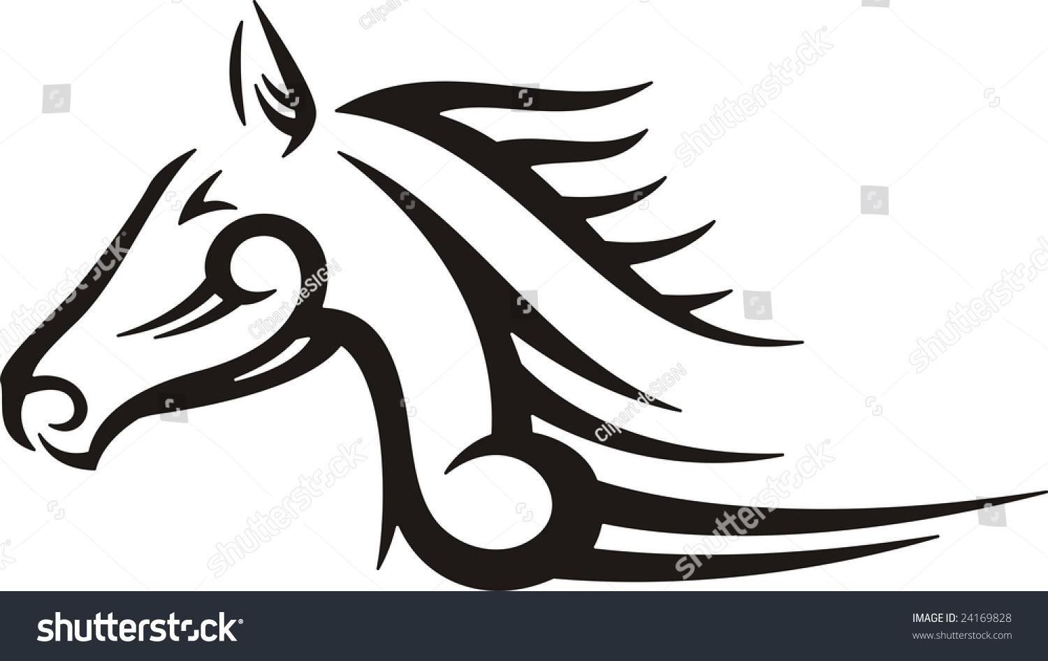 Car design sticker vector graphics - Tribal Horse Vector Illustration Great For Vehicle Graphics Stickers And T Shirt Designs