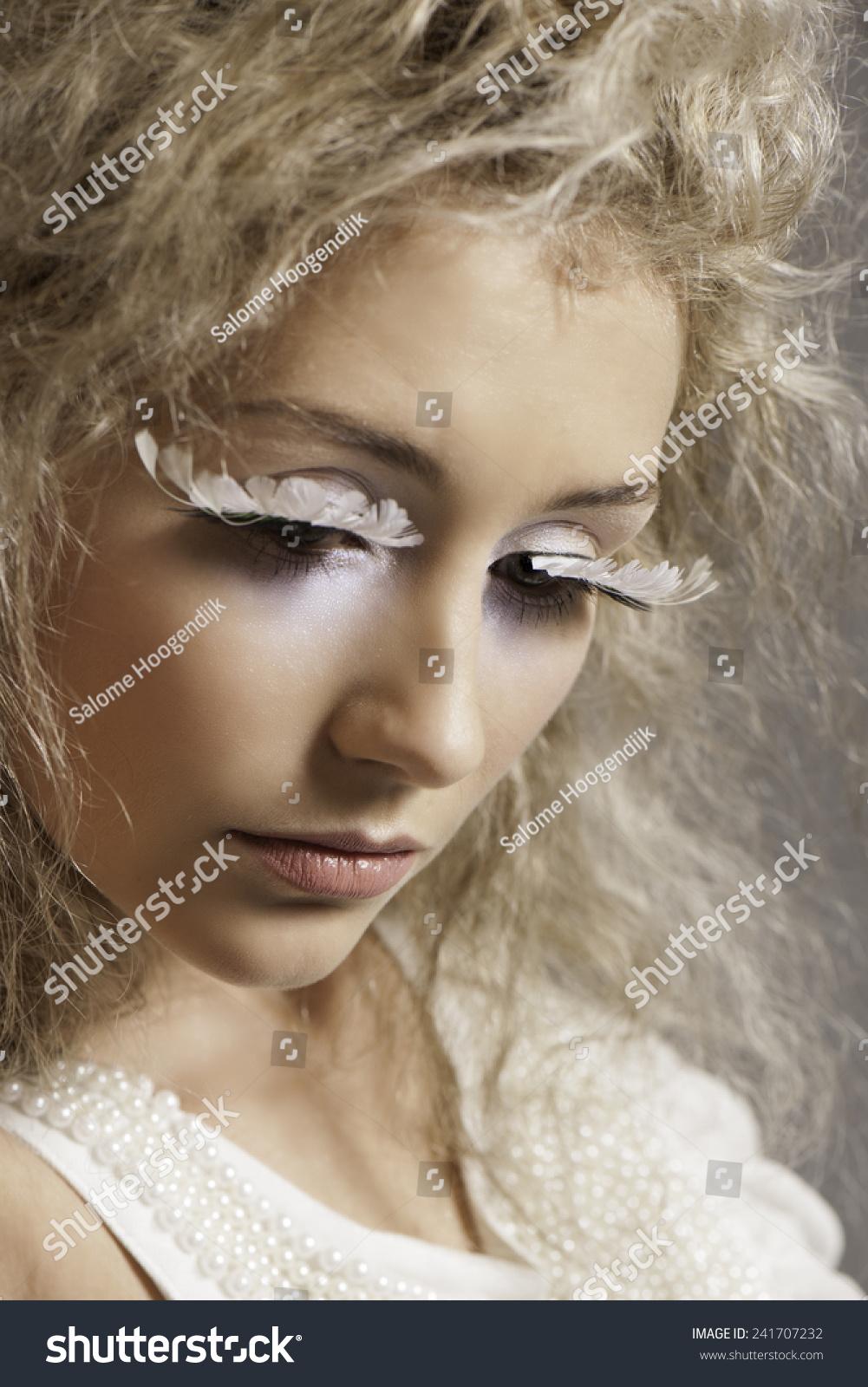 Portrait Blonde Woman Light Shimmering Makeup Stock Photo Edit Now