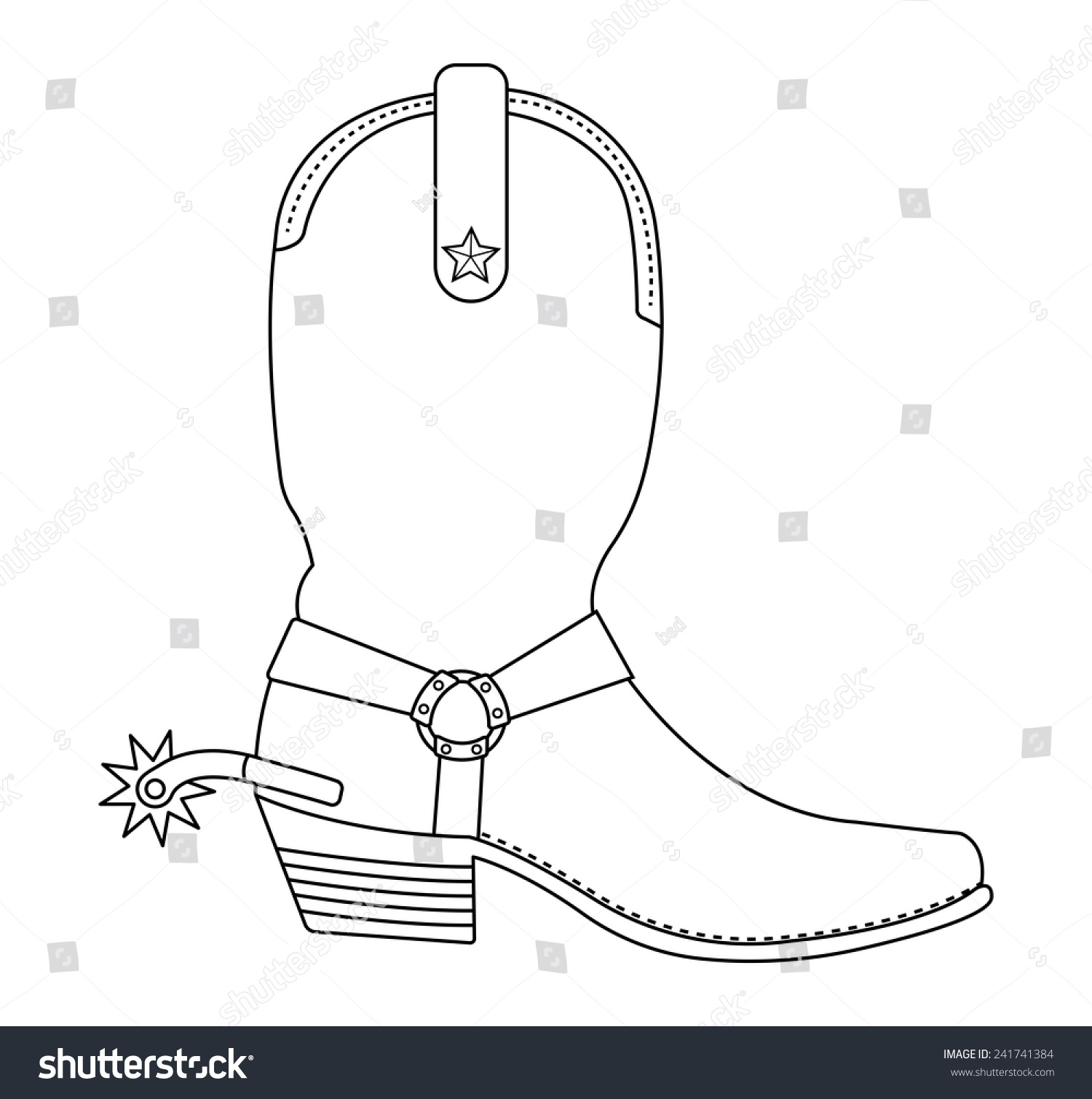 Coloring pictures of cowboy boots - Wild West Cowboy Boot With Spur And Star Contour Lines Vector Clip Art Illustration Isolated