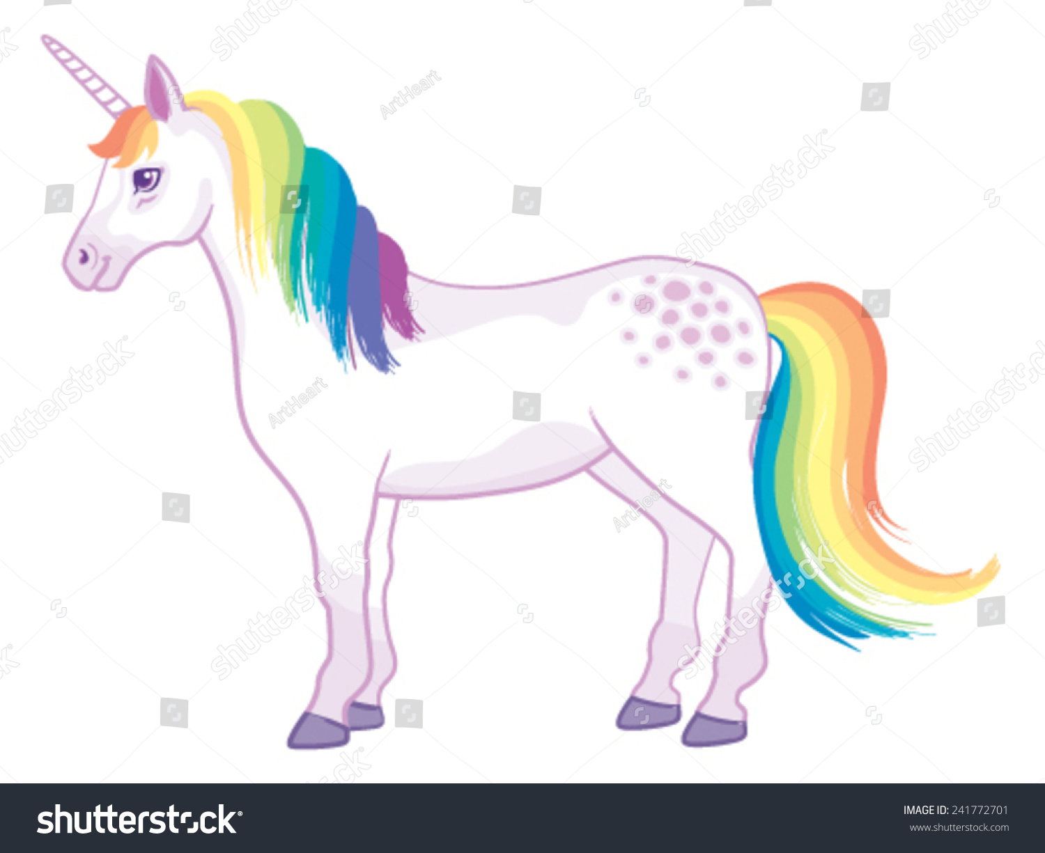 Cartoon Unicorn Rainbow Mane Tail Standing Stock Vector 241772701 ...