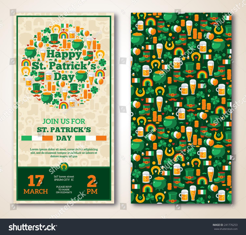 Set Vintage Happy St Patricks Day Stock Vector 241776253 ...