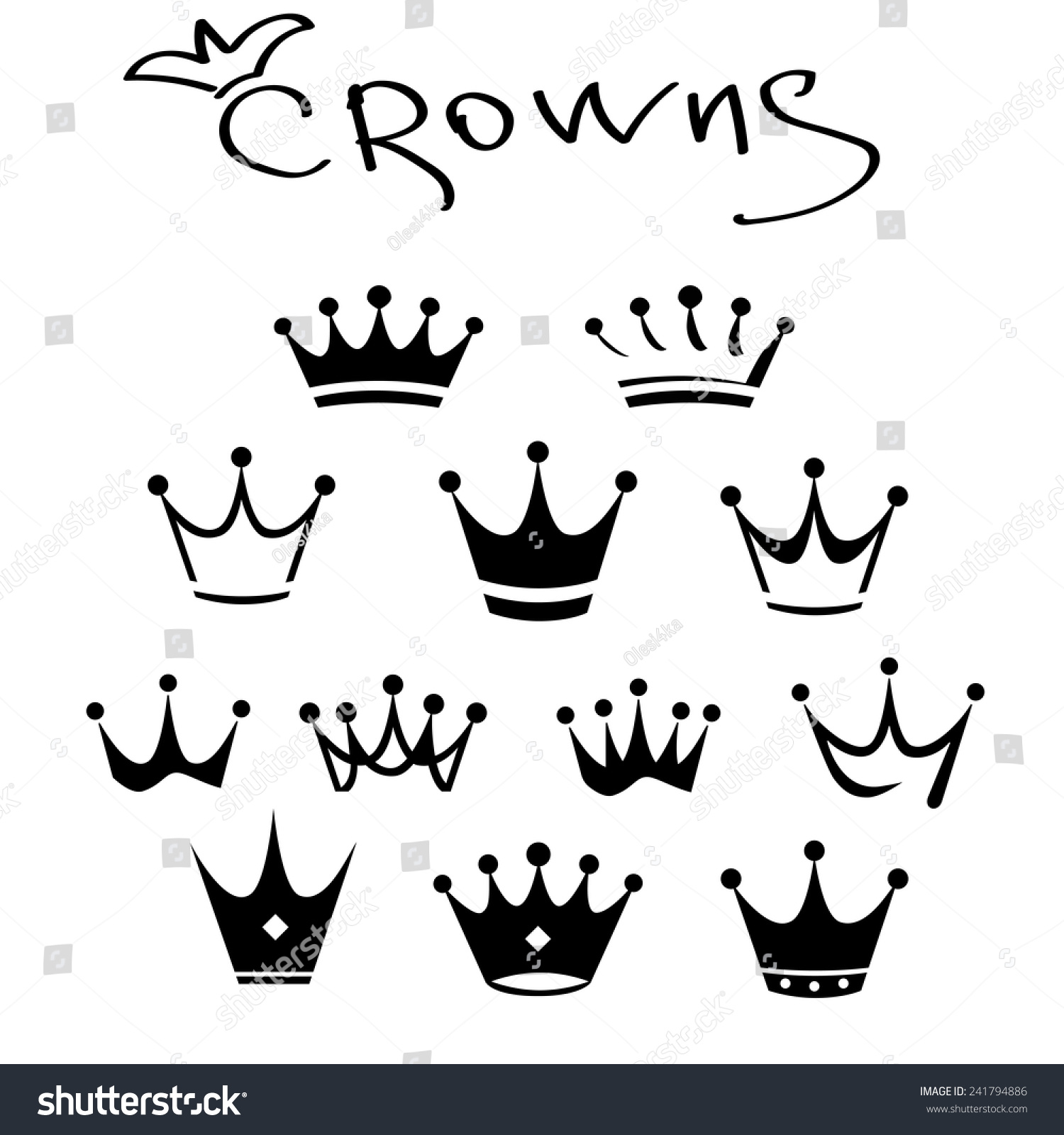 King Icon Set Vector Illustration Crowns 241794886