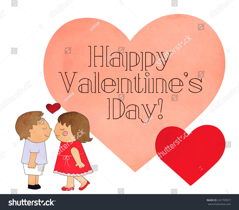 Vintage Happy Valentines Day Message Heart Stock Illustration