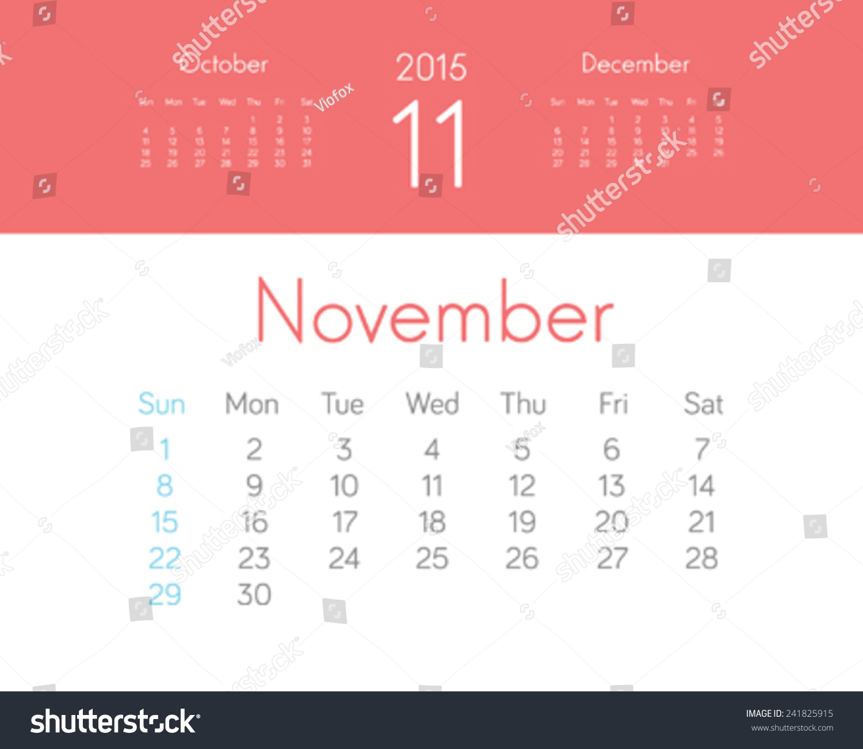 New Year Calendar Design : New year calendar design november vector stock