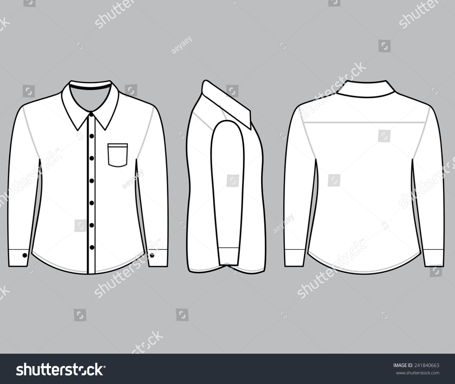 Royalty-free Blank shirt with long sleeves template… #241840663 ...