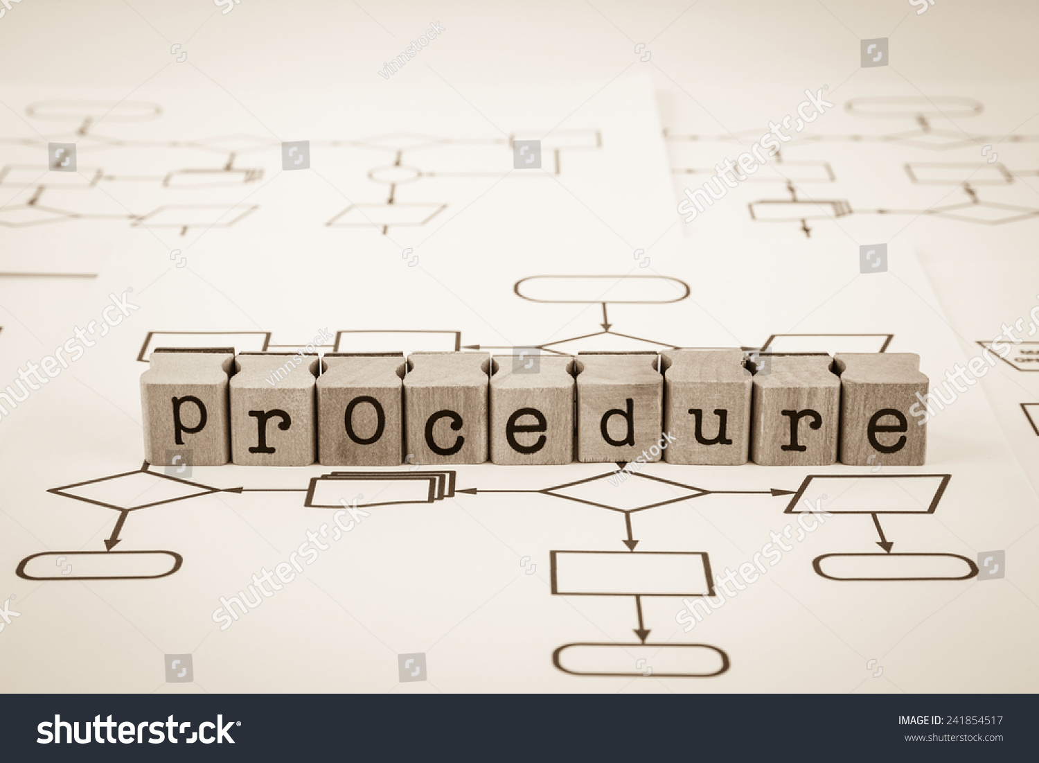 Procedure Word On Rubber Wood Stamps Stock Photo Edit Now Process Flow Diagram Place Blank System Analysis Charts Sepia