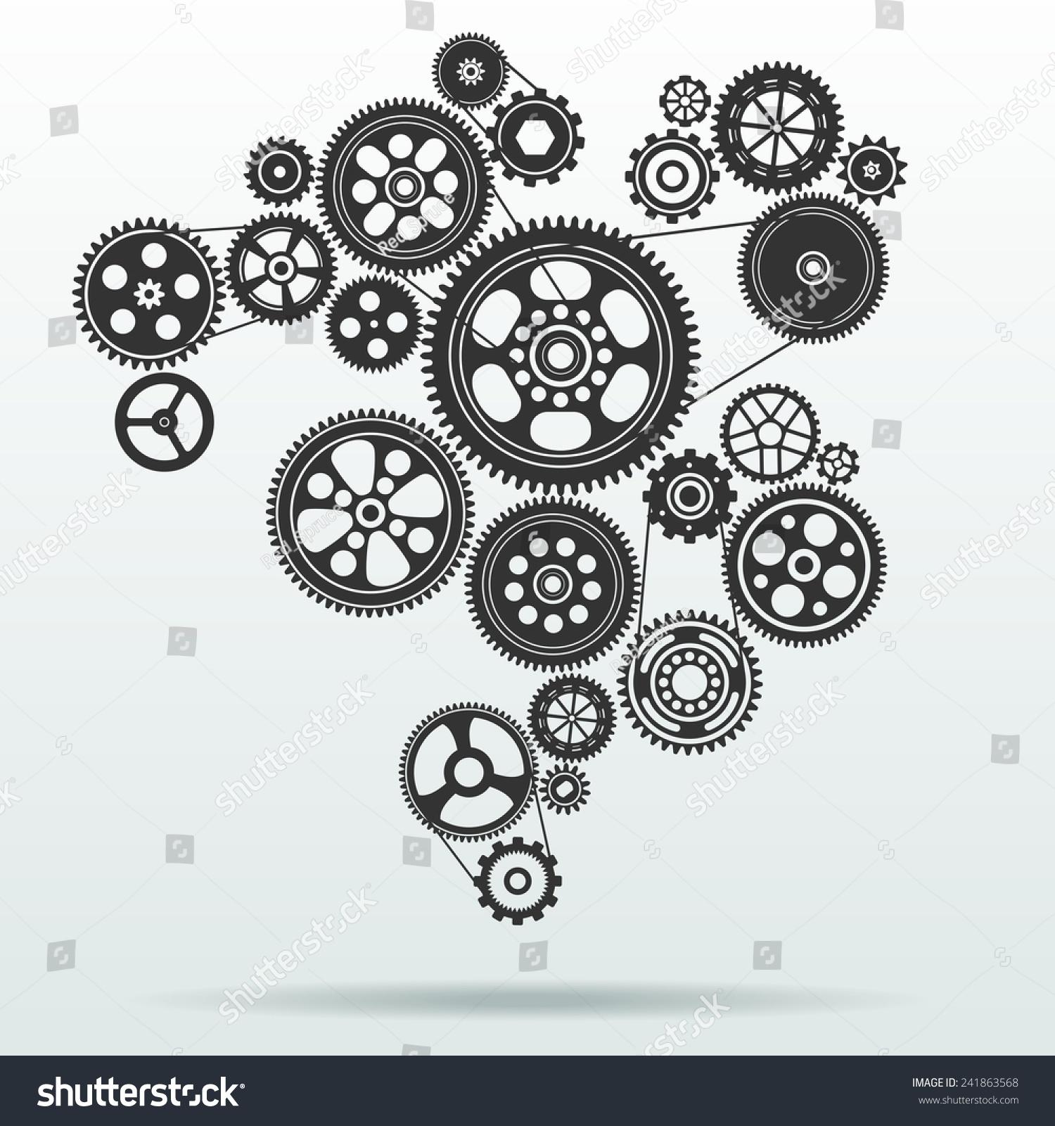 Gear Cogwheel Mechanism Background Vector Illustration ...