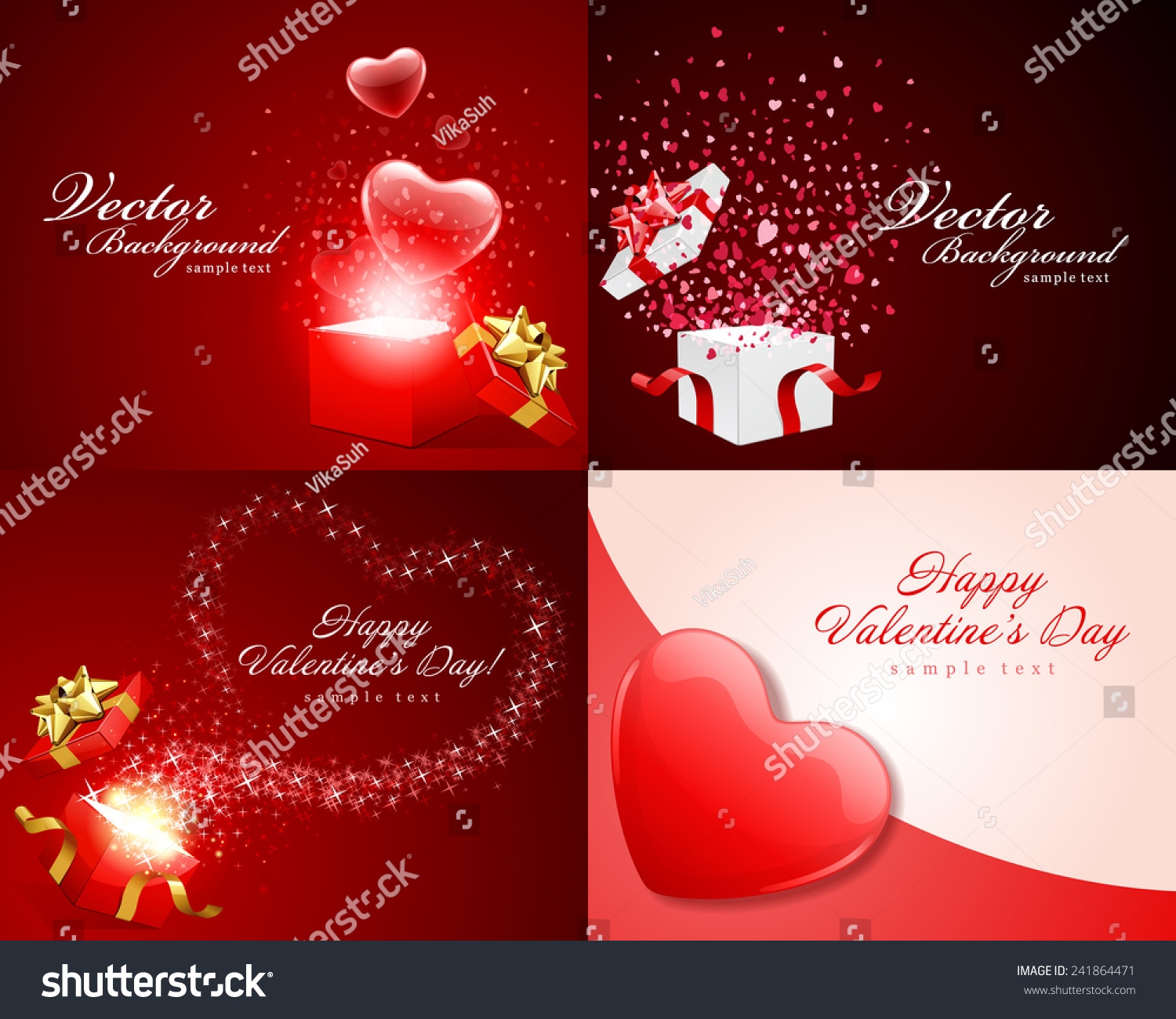 Set Happy Valentines Day Greetings Cards Stock Vector 241864471
