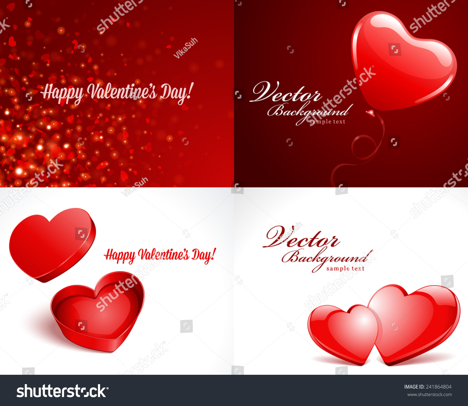 Set Happy Valentines Day Greetings Cards Stock Vector 241864804