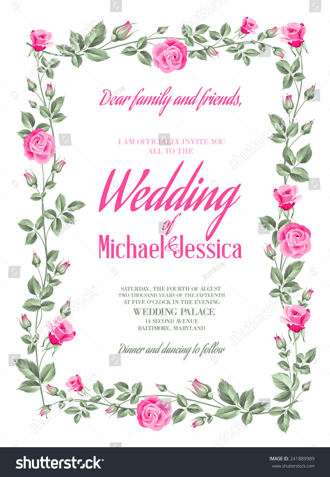 Marriage Invitation Card Custom Sign Flower Stock Vector (Royalty ...