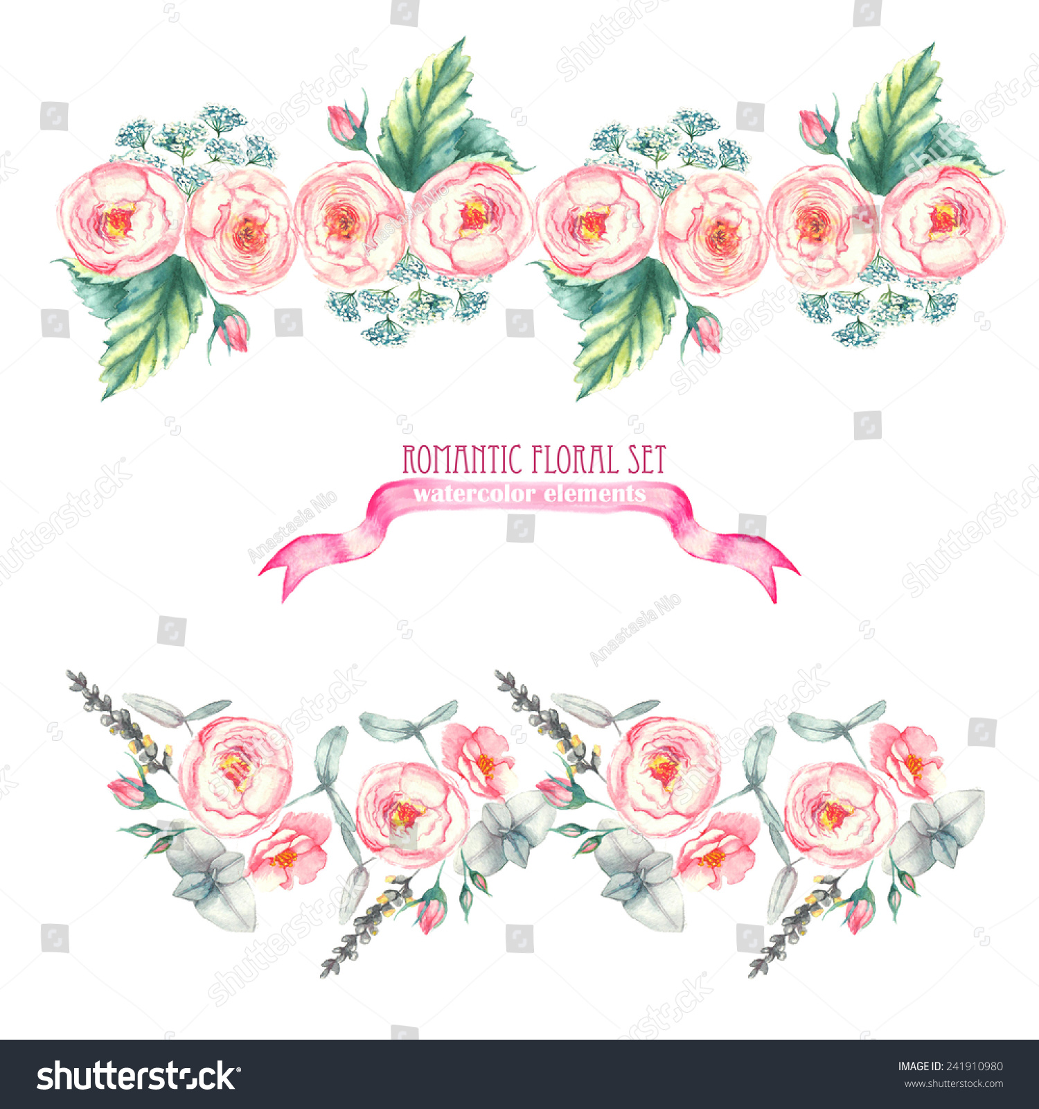 Hand Drawn Watercolor Isolated Romantic Floral Compositions Made