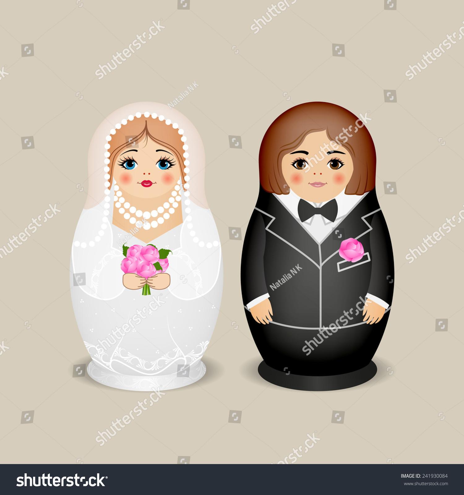 nested dolls groom bride vector illustration stock vector 241930084