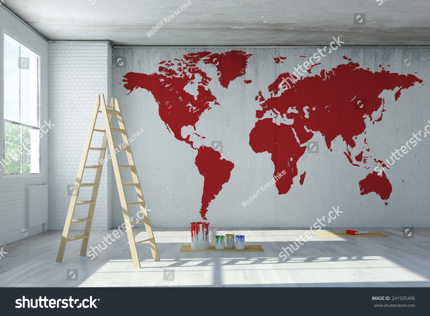 Big red world map painted on stock illustration 241935496 shutterstock big red world map painted on a wall in a room 3d rendering gumiabroncs Gallery
