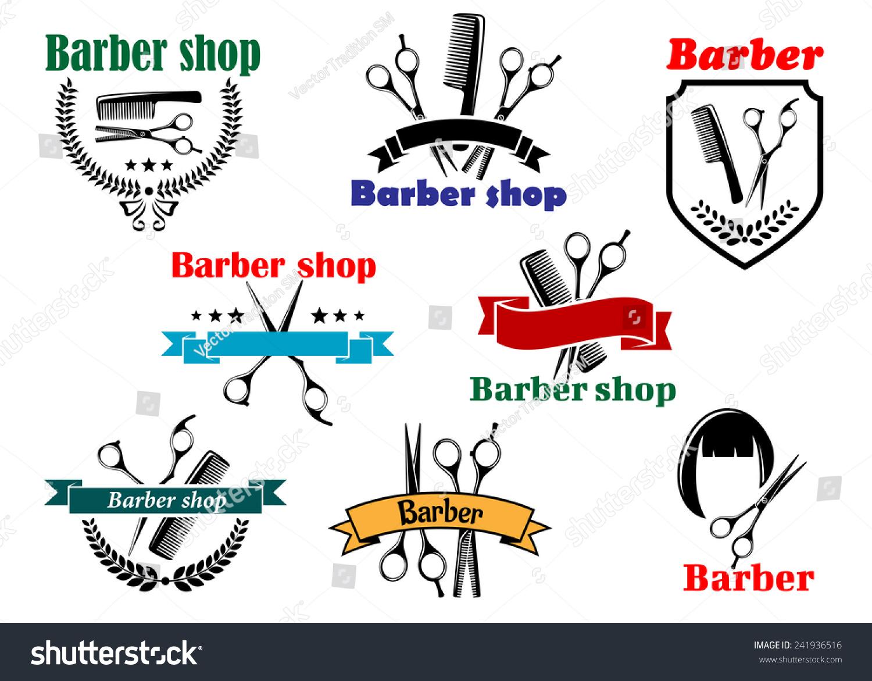 理发店招牌设计的标志和标签张开剪刀,刷子,发型轮廓用丝带横幅和
