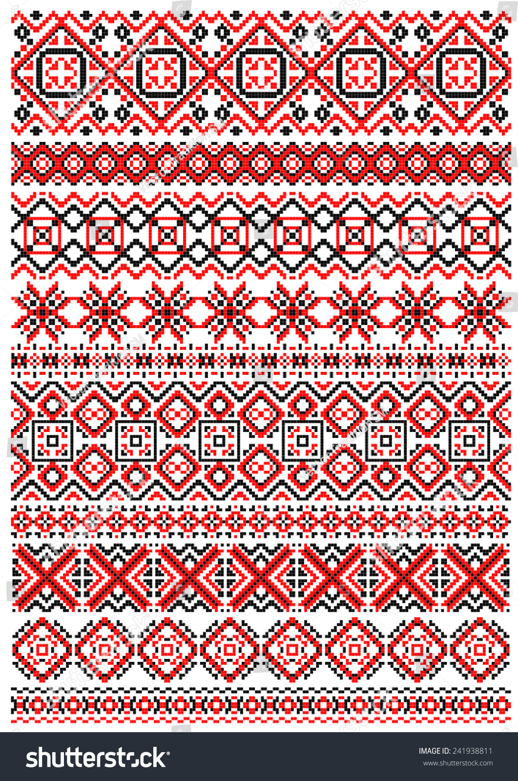 Geometric embroidery pattern in folk style with red black