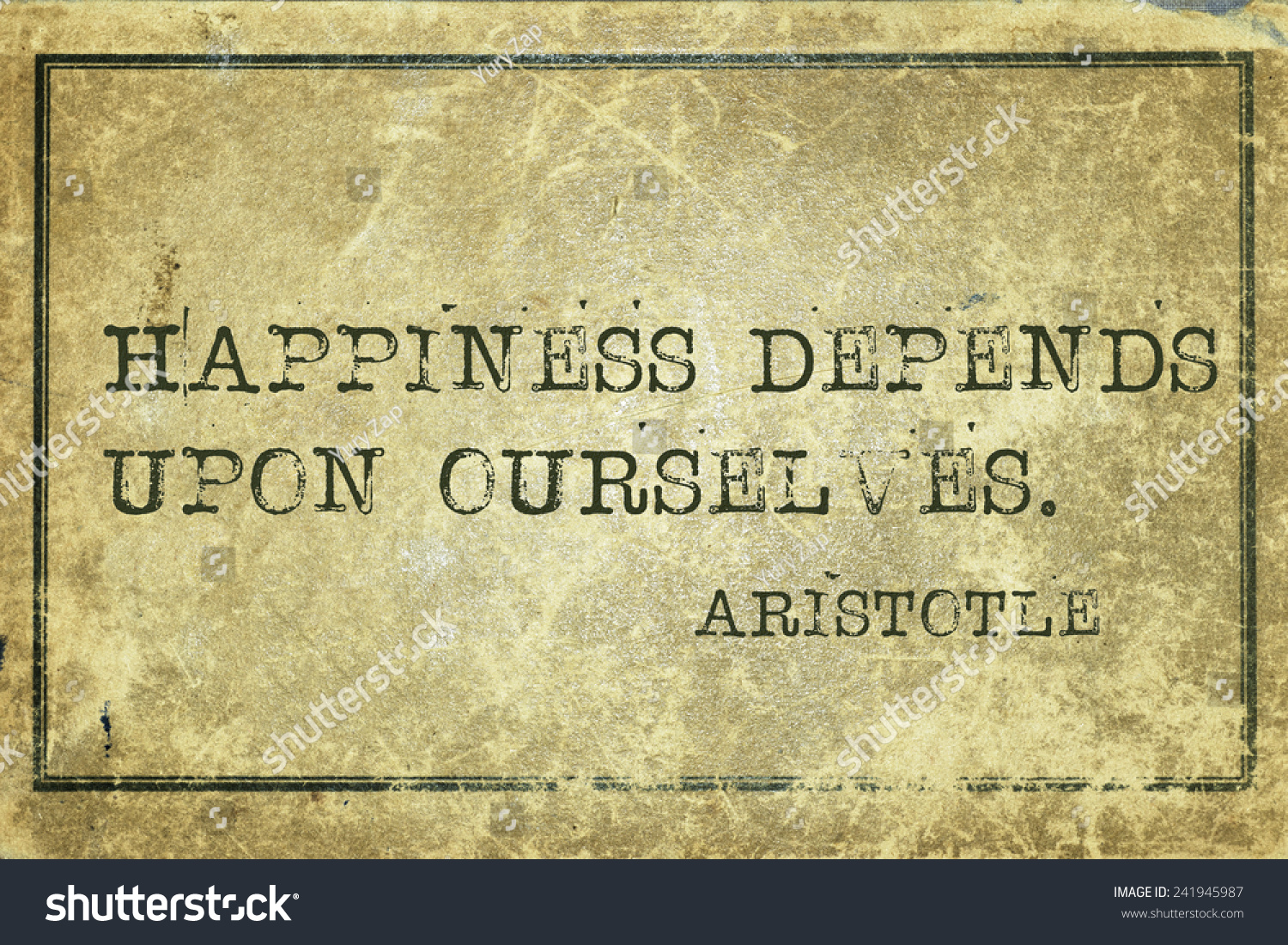 Happiness Depends On Ourselves Aristotle Quote: Happiness Depends Upon Ourselves Ancient Greek Stock