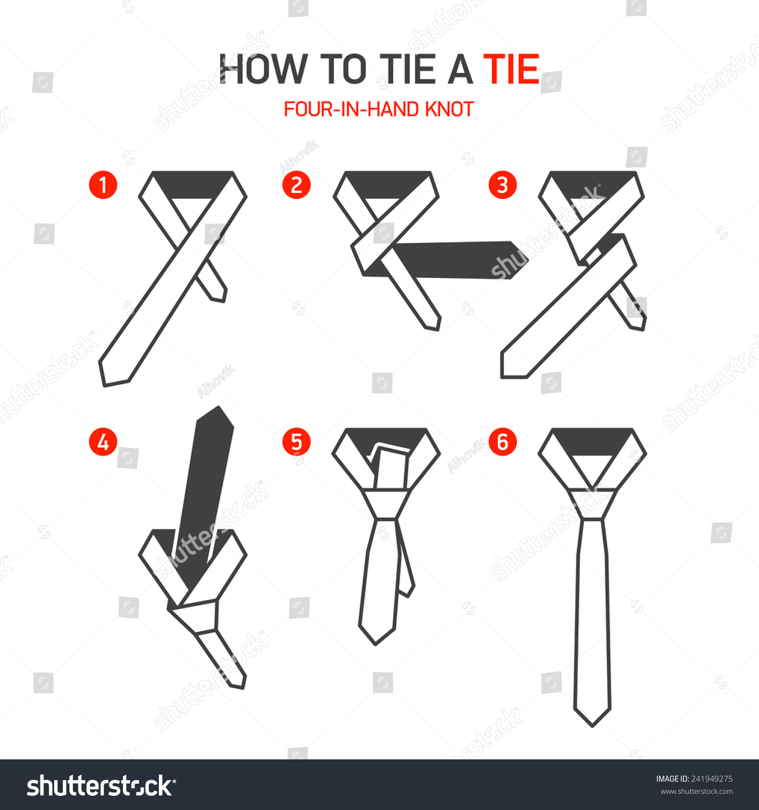 How to tie a Four-In-Hand tie knot instructions. Vector.